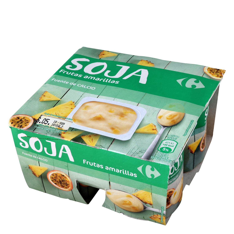 Preparado de soja con frutas amarillas Carrefour pack de 4 unidades de 125 g.