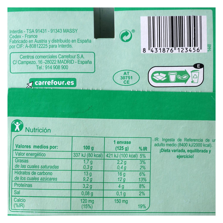 Preparado de soja con frutas amarillas Carrefour pack de 4 unidades de 125 g. -