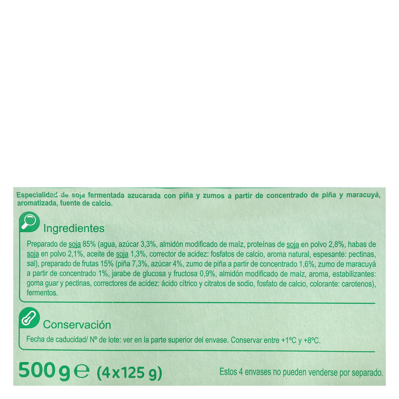 Preparado de soja con frutas amarillas Carrefour pack de 4 unidades de 125 g. - 2