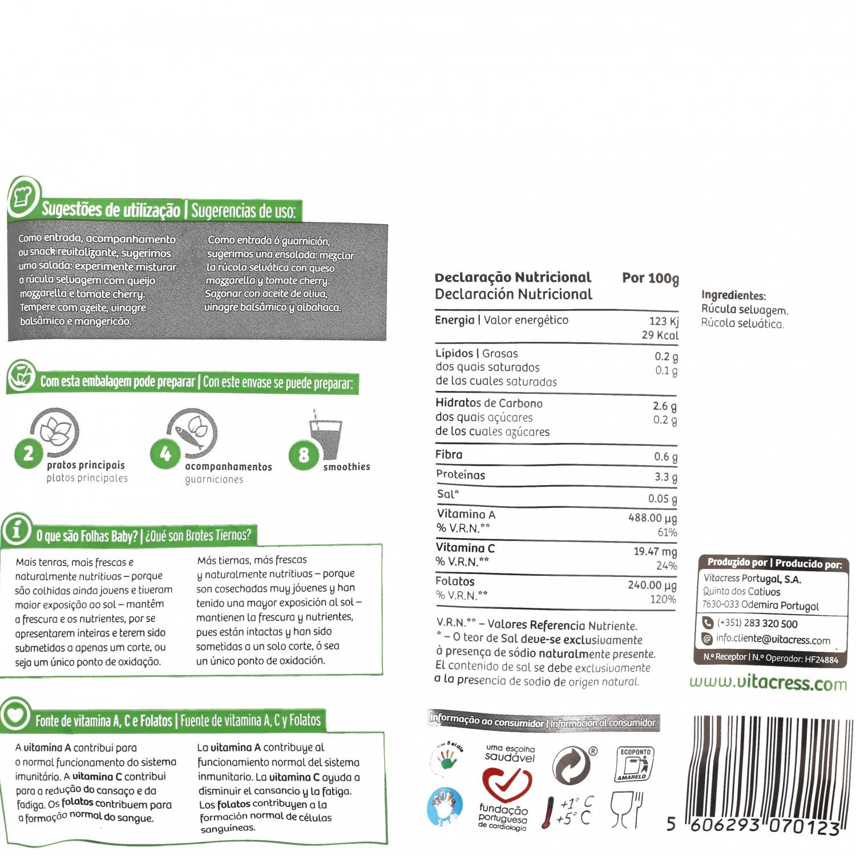 Rucula selvática ecológica Vitacress bolsa 70 g - 3