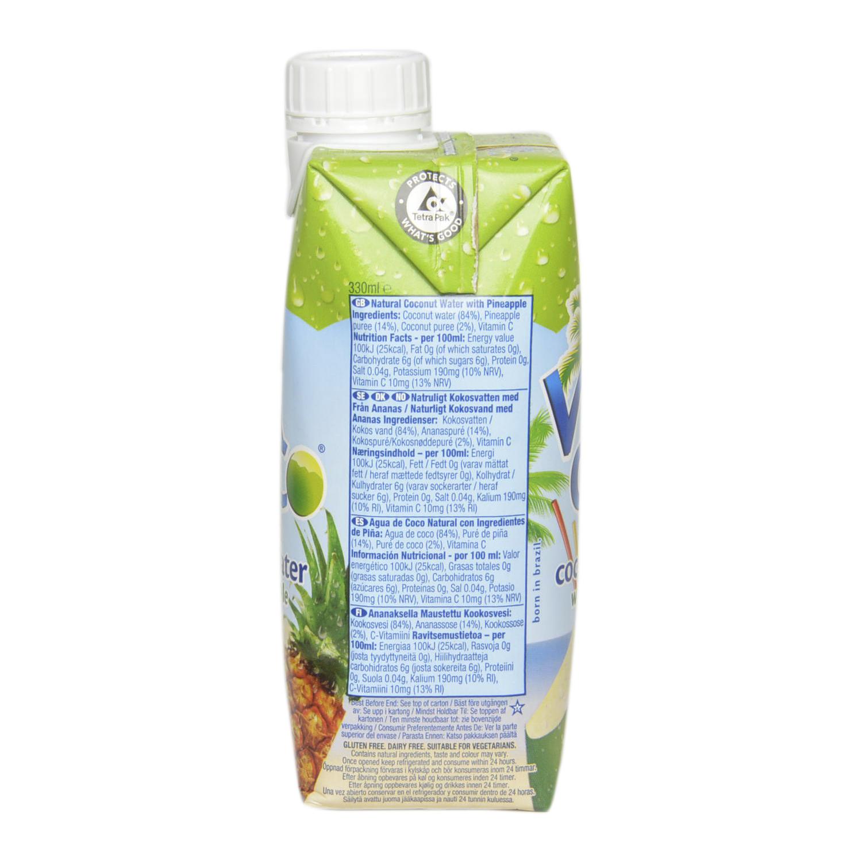 Agua de coco Vitacoco natural sabor piña brick 33 cl. -