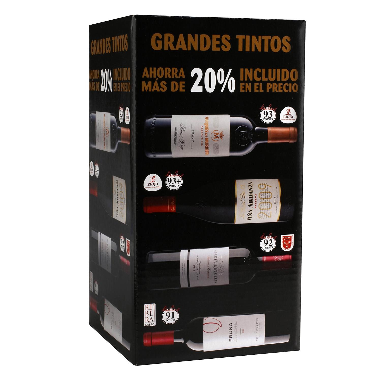 Vino Marqués de Murrieta Tinto Reserva + Viña Ardanza Tinto Reserva + Abadía Retuerta Selección Especial Tinto con crianza + Pruno Tinto con crianza pack de 4 botellas de 75cl.