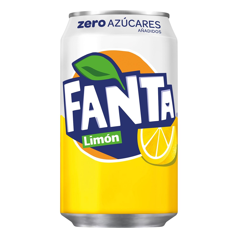 Refresco de limón Fanta con gas zero lata 33 cl.