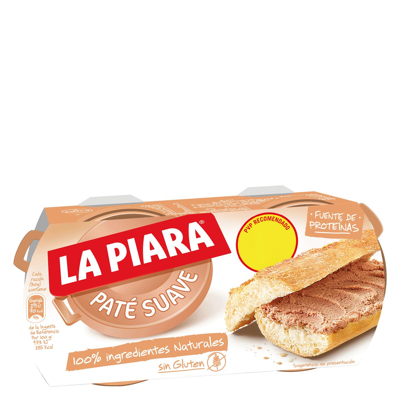 Paté suave de hígado de cerdo Sólo Natural La Piara pack de 2 unidades de 75 g.
