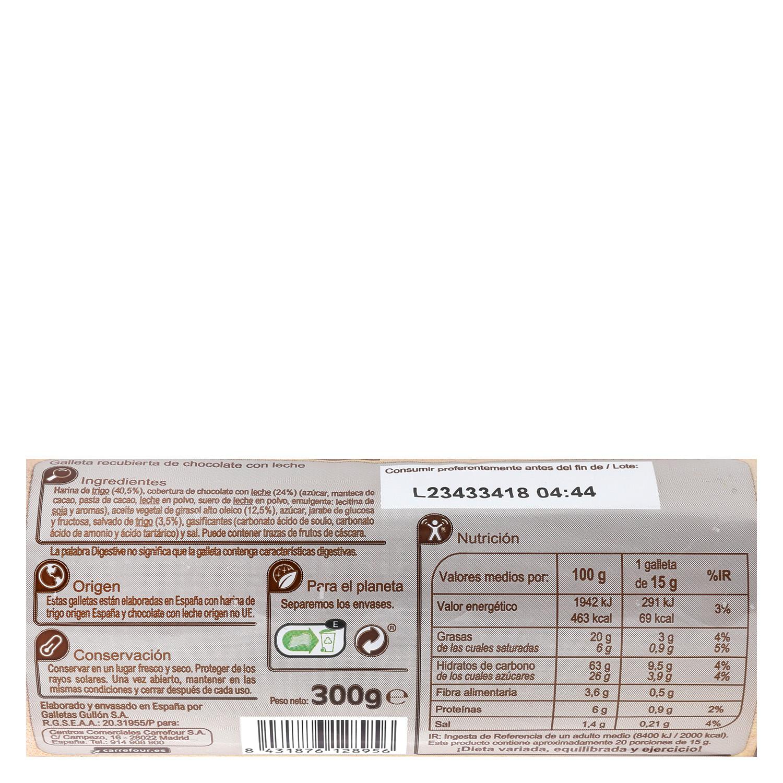 Galletas de chocolate con leche Digestive Carrefour 300 g. -