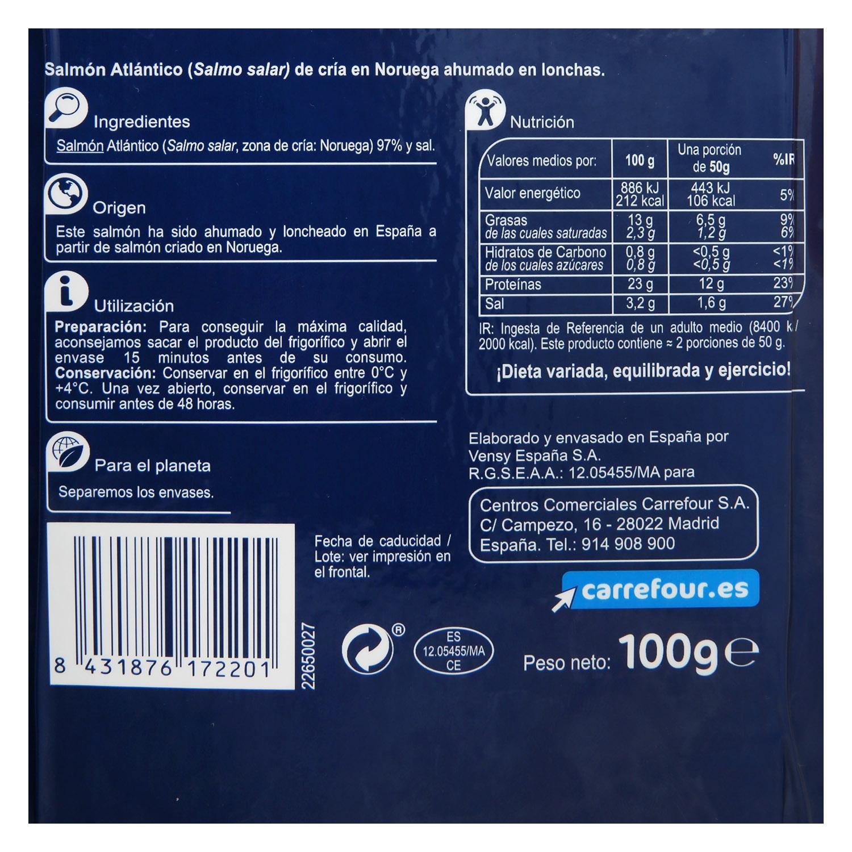 Salmón ahumado Noruego Carrefour 100 g. -