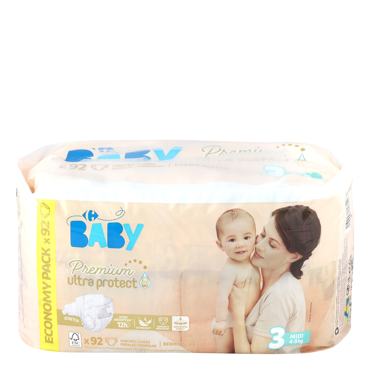 Pañales Premium Ultra Protect Carrefour Baby T3 (4kg.-9kg) 92 ud.