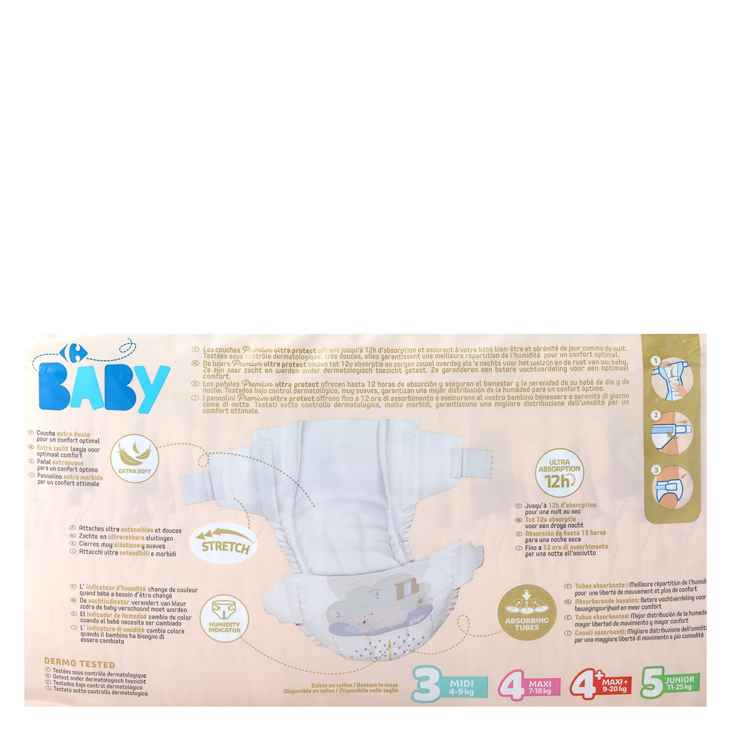Pañales Premium Ultra Protect Carrefour Baby T3 (4kg.-9kg) 92 ud. -