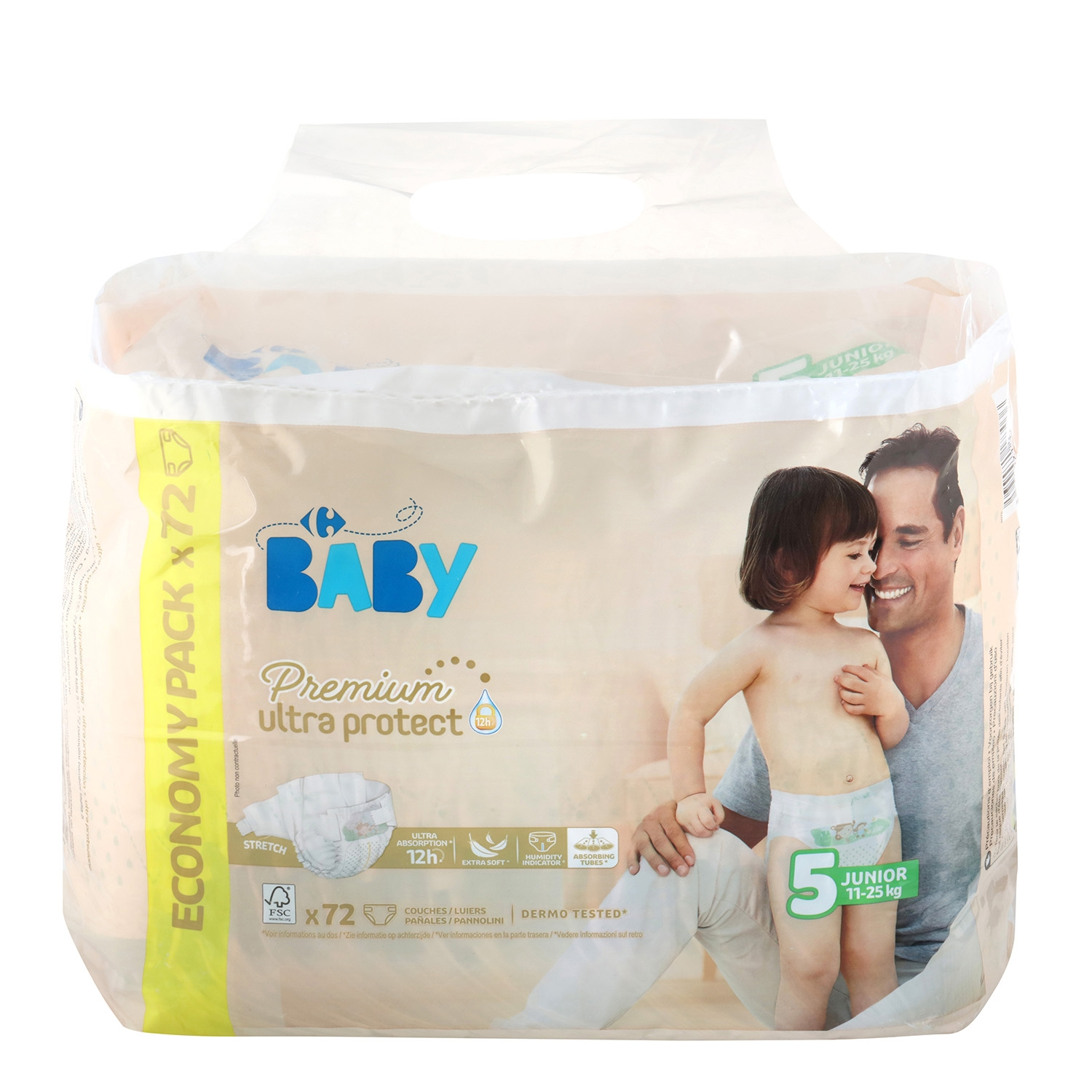 Pañales Premium Ultra Protect Carrefour Baby  T5 (11kg.-25kg.) 72 ud.