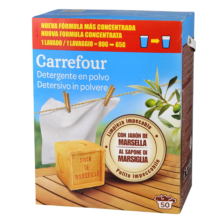 Detergente con jabón de Marsella en polvo Carrefour 50 cacitos