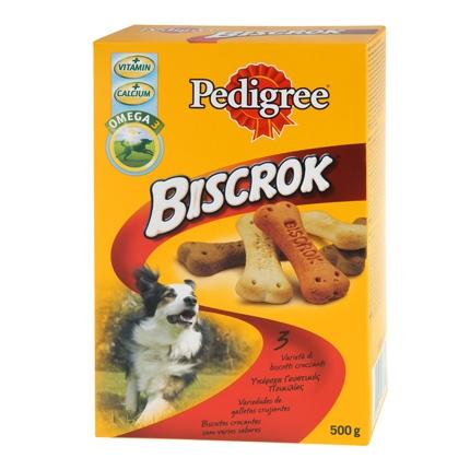 Snack para perro Pedrigree Biscrok. Pack de 500gr
