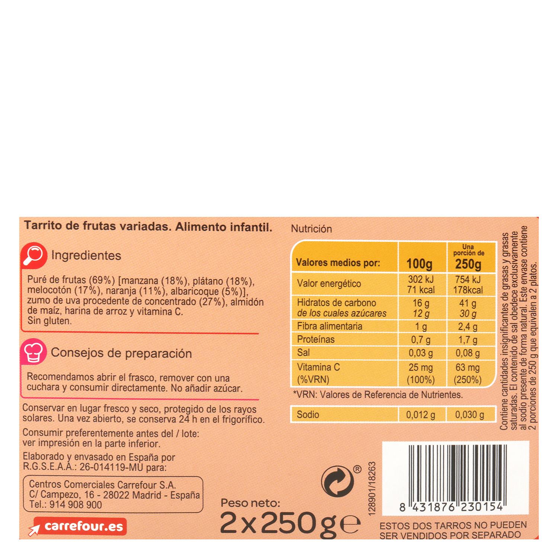 Tarrito de frutas variadas desde 6 meses Carrefour Baby sin gluten pack de 2 unidades de 250 g. -