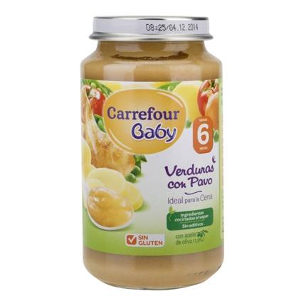 Tarrito de verduras con pavo desde 6 meses Carrefour Baby sin gluten 250 g.