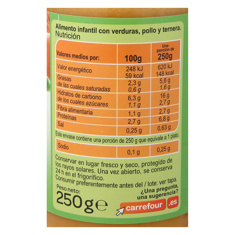 Tarrito de verduras pollo y ternera -