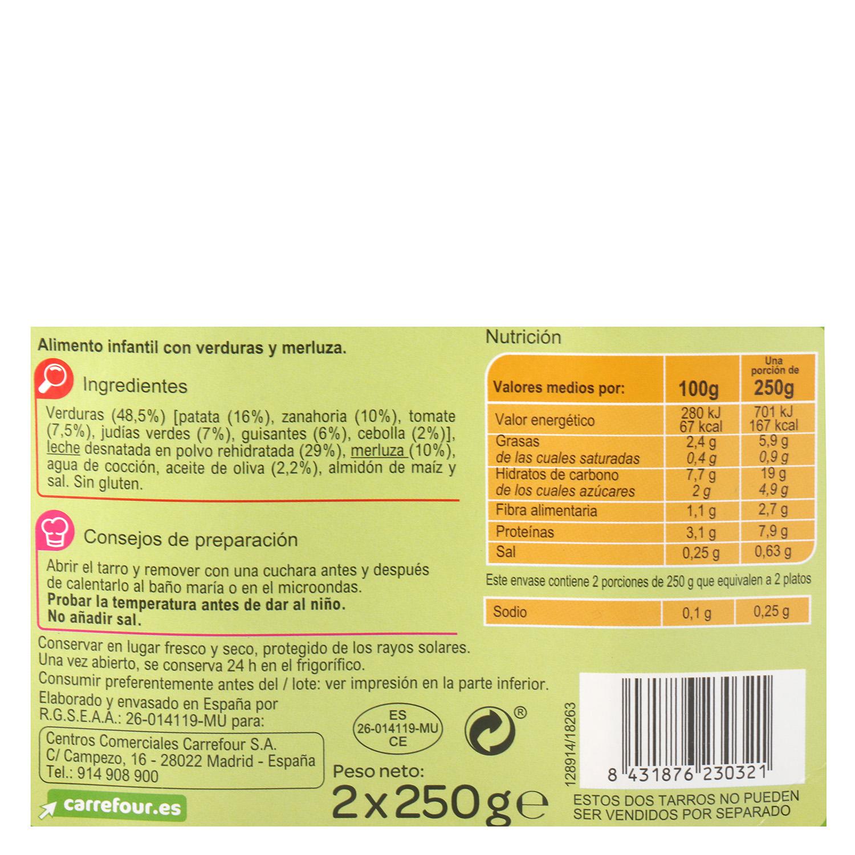 Tarrito de verduras con merluza desde 8 meses Carrefour Baby sin gluten pack de 2 unidades de 250 g. -