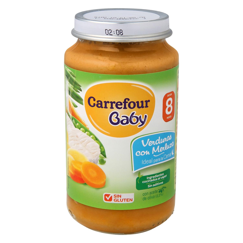 Tarrito de verduras con merluza desde 8 meses Carrefour Baby sin gluten 250 g.