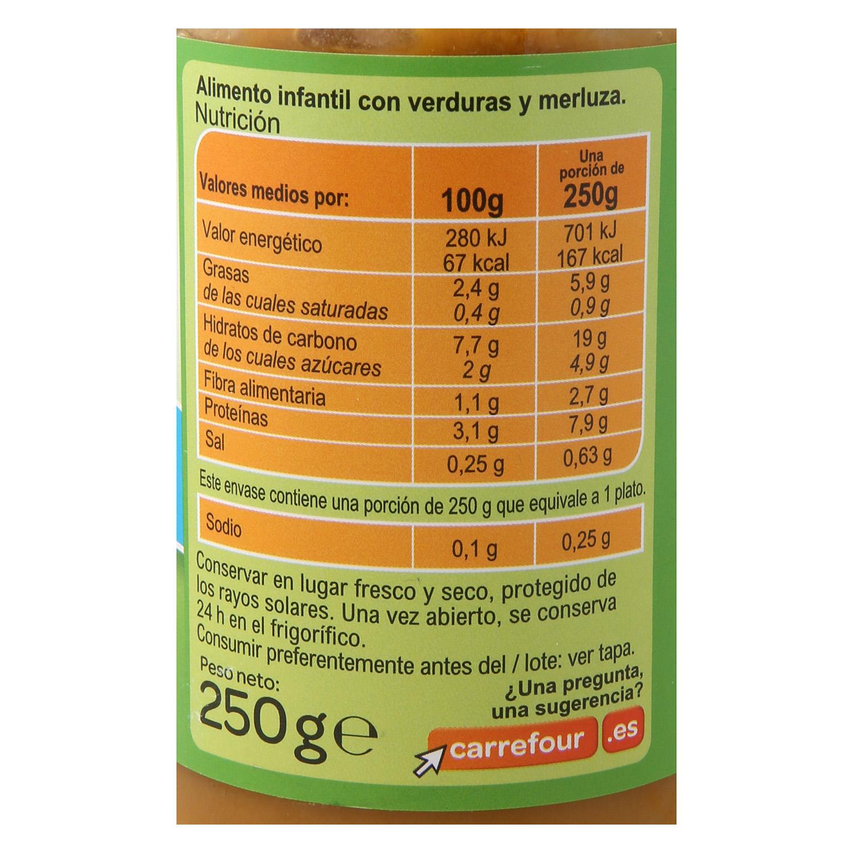Tarrito de verduras con merluza desde 8 meses Carrefour Baby sin gluten 250 g. -