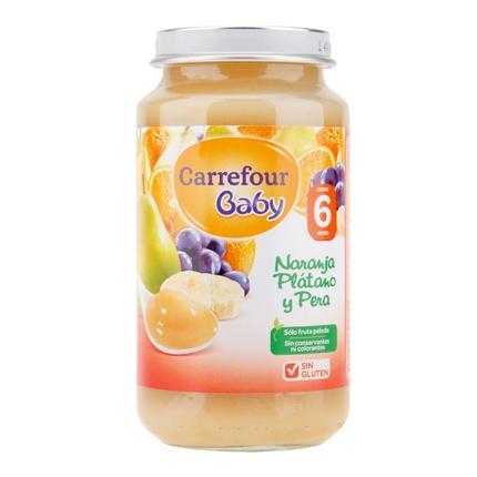 Tarrito de naranja, plátano y pera a partir de 6º mes