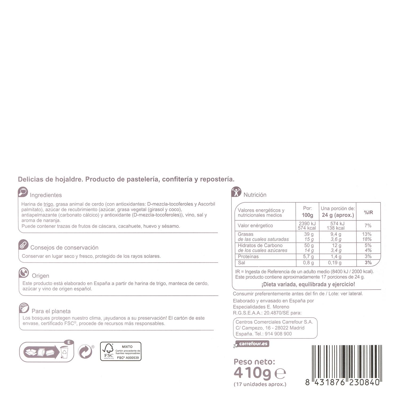 Delicias de hojaldre Carrefour 410 g. -
