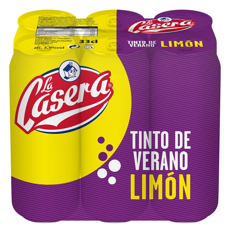 Tinto de verano con limón La Casera pack de 6 latas de 33 cl.