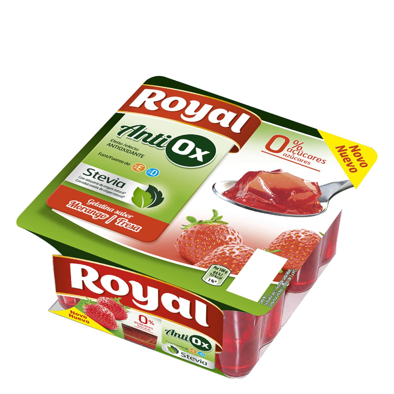 Gelatina sabor fresa antiox sin azúcar añadido Royal pack de 4 unidades de 100 g.