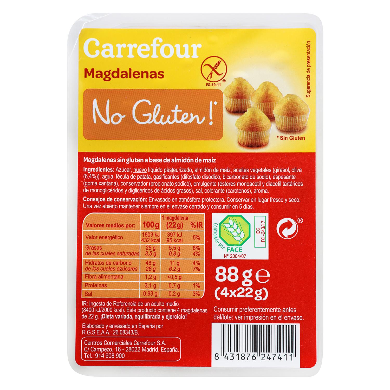 Magdalenas Carrefour No gluten sin gluten 88 g.