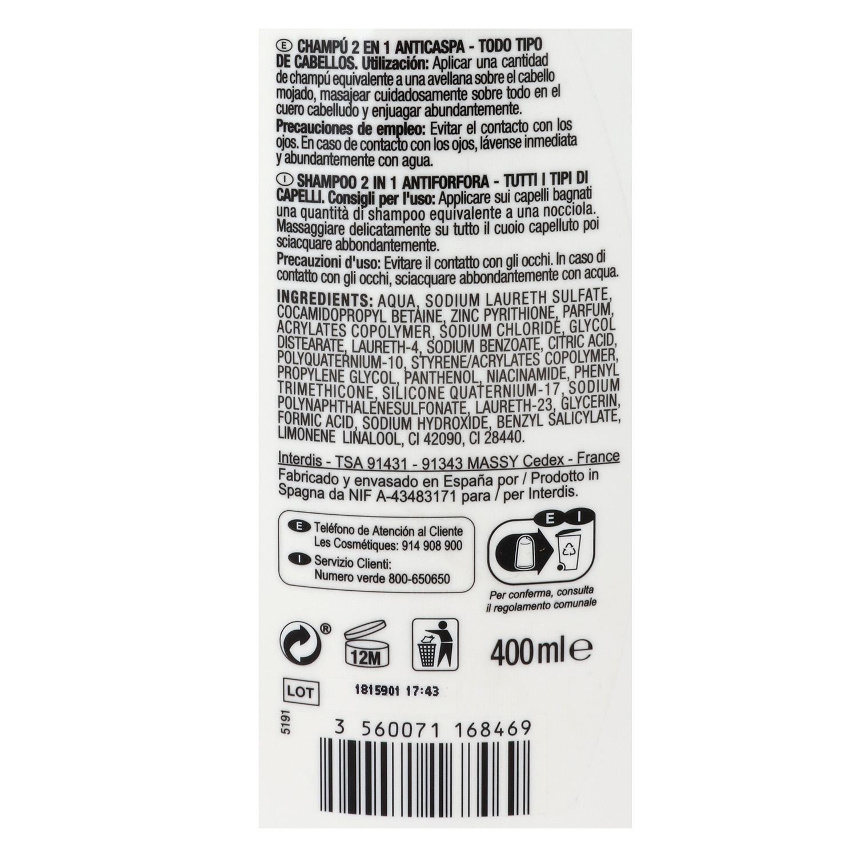 Champú y acondicionador anticaspa 2 en 1 Carrefour 400 ml. -