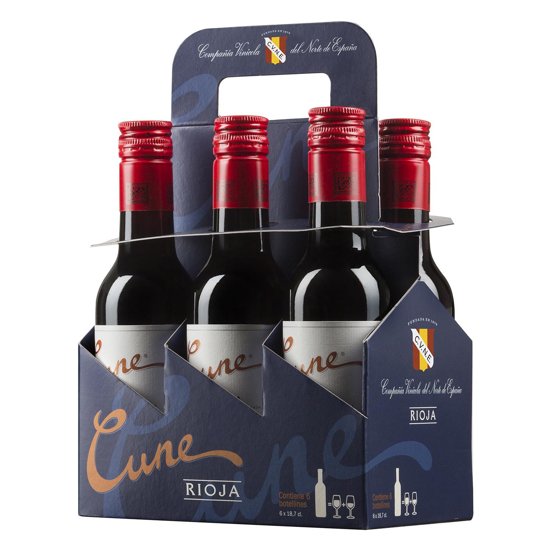 Vino D.O. Rioja tinto crianza Cune pack de 6 botellas de 18,7 cl.