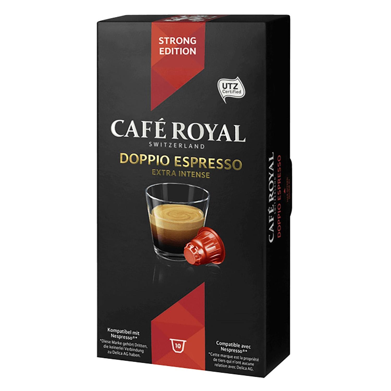 Café doppio extra intenso en cápsulas Royal compatible con Nespresso 10 unidades de 5,8 g.