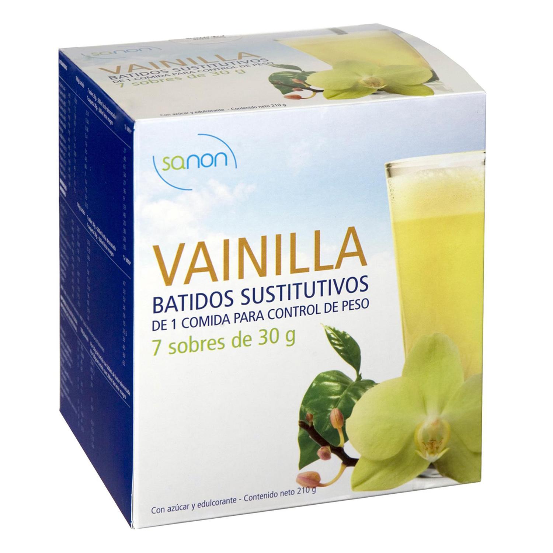 Batidos sustitutivos sabor vainilla Sanon pack de 7 sobres de 30 ml.
