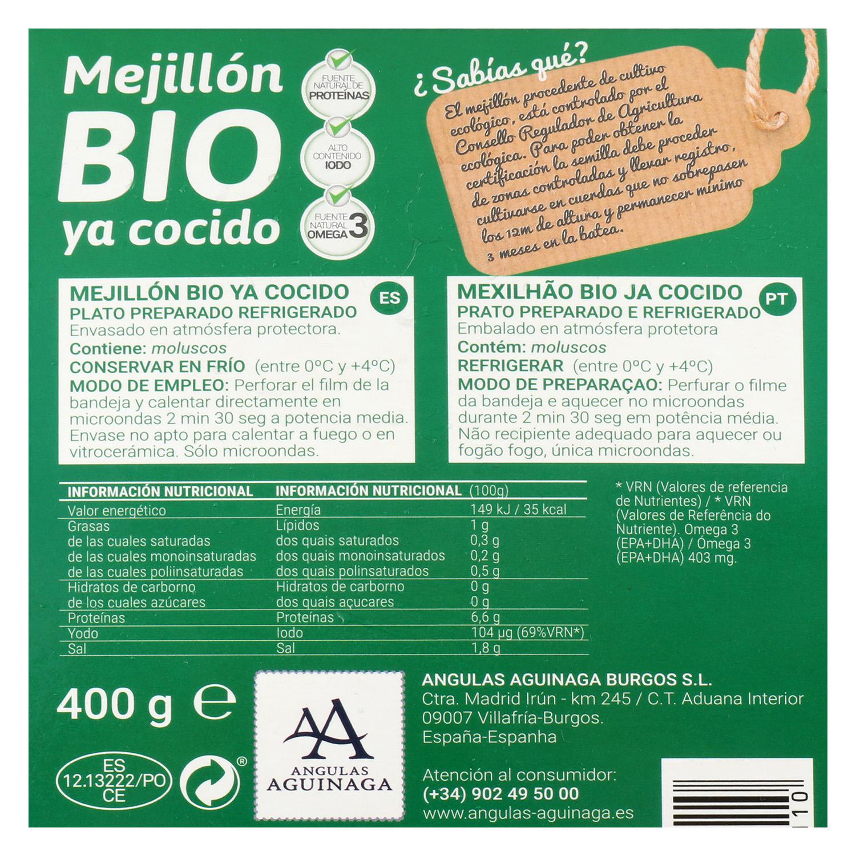 Mejillón Cocido ecológico Aguinaga 400 g -