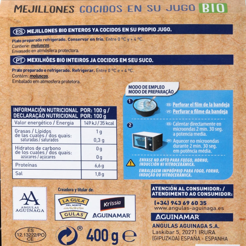 Mejillón Cocido ecológico Aguinaga 400 g - 3