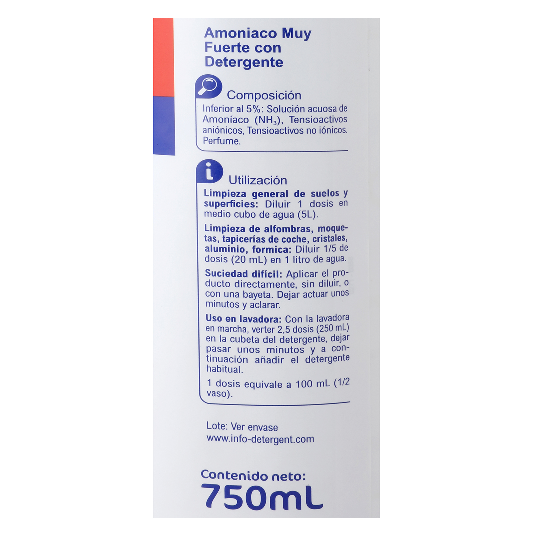 Amoniaco muy fuerte con detergente Carrefour 750 ml. - 2