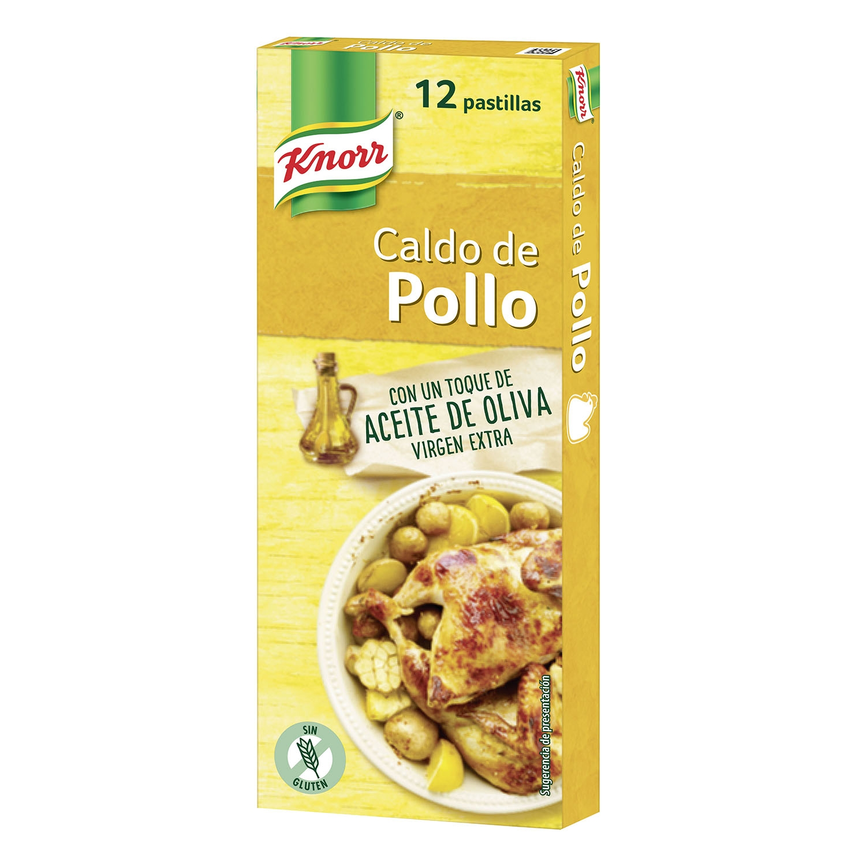 Caldo de pollo con aceite de oliva virgen extra