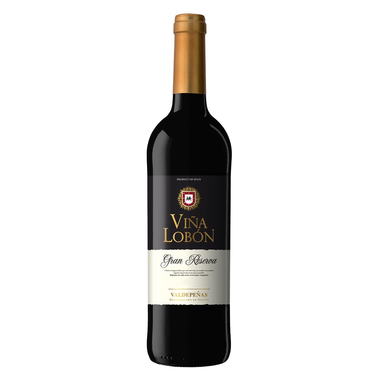 Vino D.O. Valdepeñas tinto gran reserva Viña Lobón 75 cl.