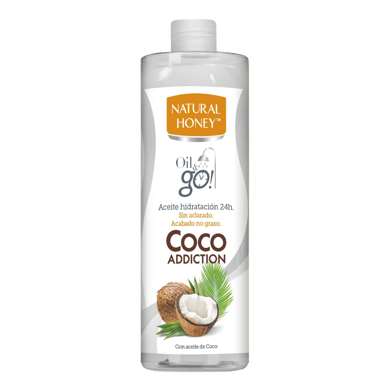 Aceite corporal coco bajo la ducha