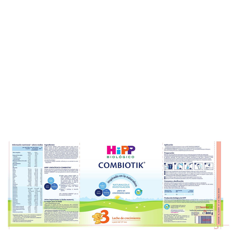Leche 3 de crecimiento ecológica Combiotik Hipp 800 g. -