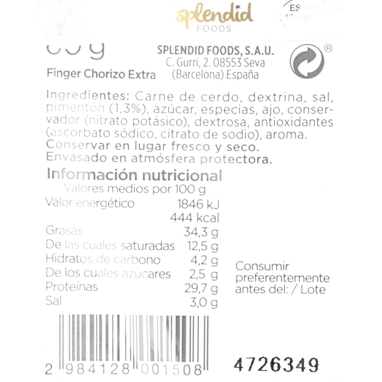 Longaniza finger pimentón Exentis 70 g - 3