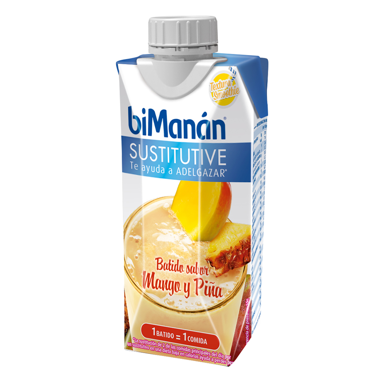 Batido sustitutivo sabor mango y piña Bimanán 330 ml.