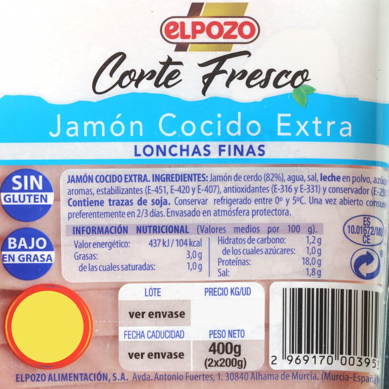 Jamón cocido loncha fina El Pozo pack 2s de 200 g - 3
