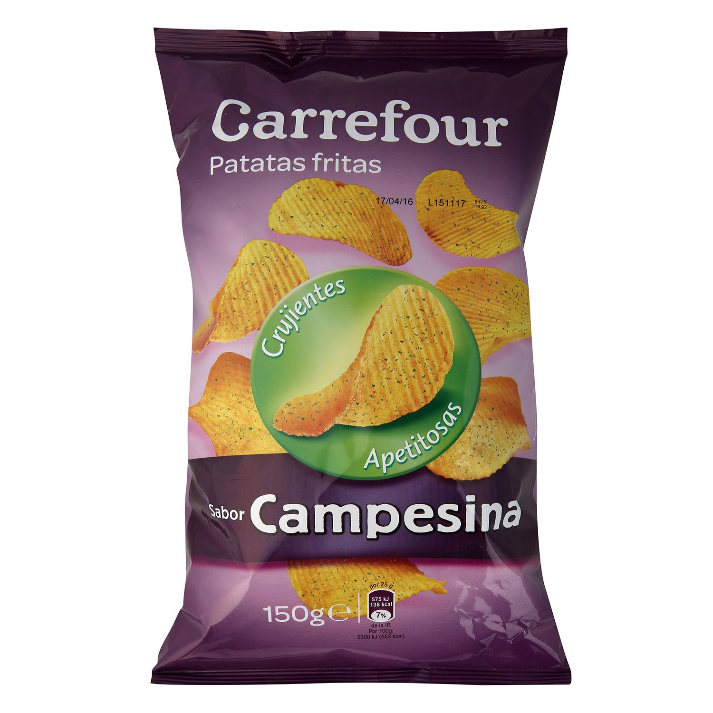 Patatas fritas sabor campesinas Carrefour 150 g.