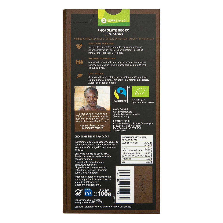 Tableta de chocolate negro 55% cacao -