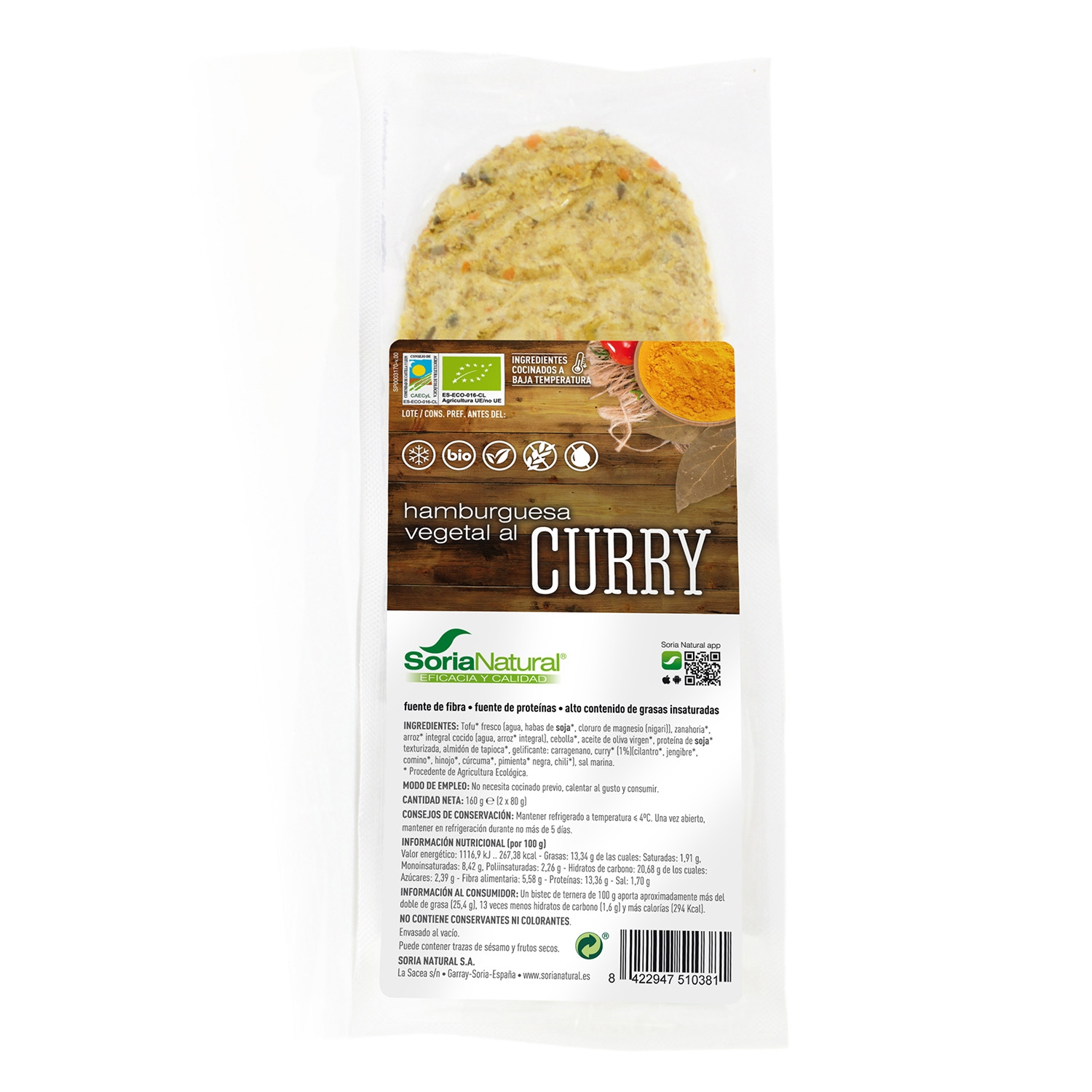 Hamburguesa vegetal ecológica al curry