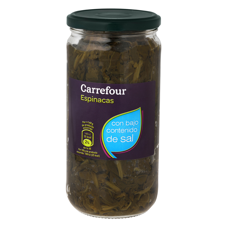Espinacas al natural contenido bajo de sal Carrefour 425 g.