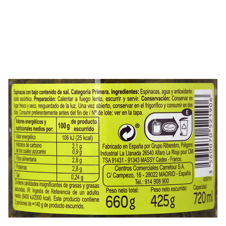 Espinacas al natural contenido bajo de sal Carrefour 425 g. -