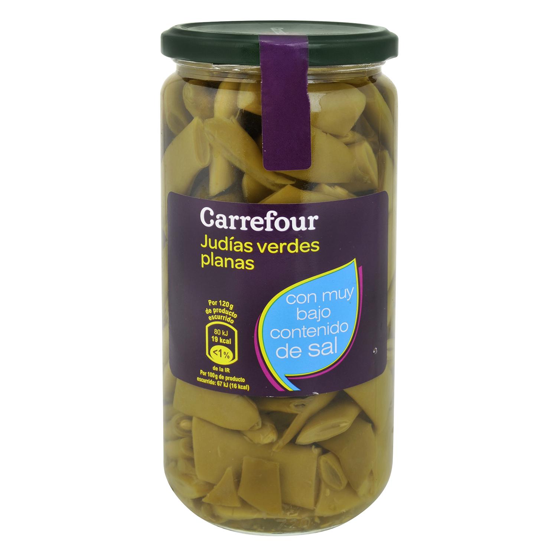 Judías verdes planas bajo contenido en sal Carrefour 360 g.