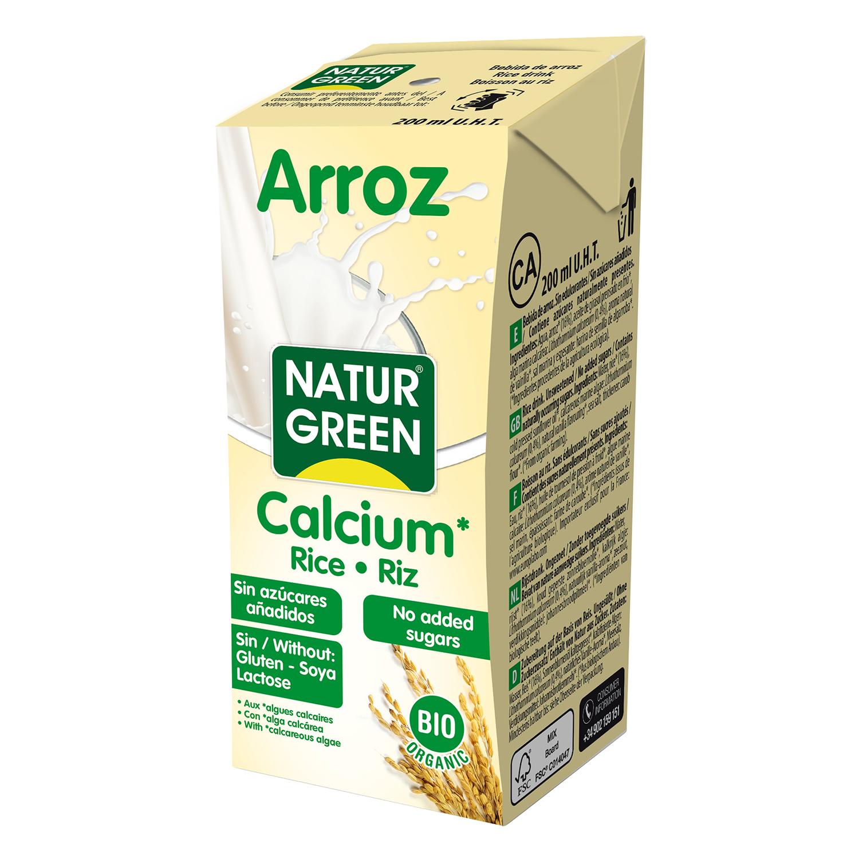 Bebida de arroz con calcio Naturgreen ecológica brik 200 ml.