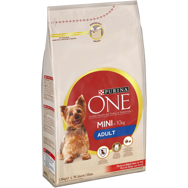 Purina ONE MINI Pienso para Perro Adulto Buey y Arroz 1,5Kg