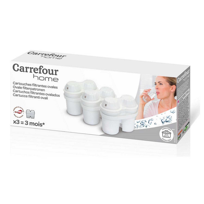 Set 3 Filtros de agua con Microparticulas CARREFOUR HOME - Blanco