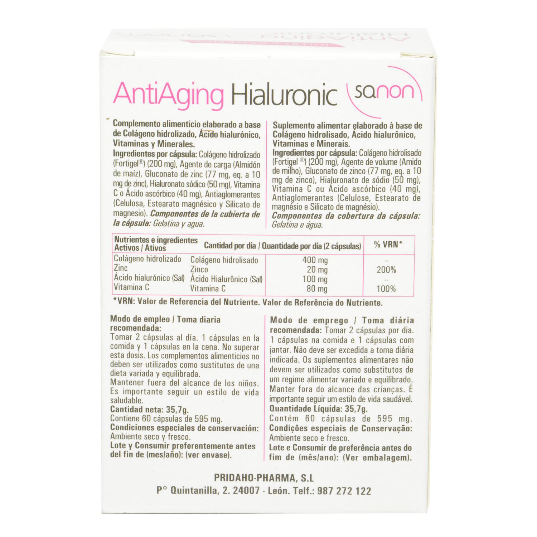9ab74c755 Antiaging Hialuronic cápsulas Sanon 60 cápsulas. Sanon - Carrefour ...